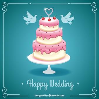 Tarjeta de feliz boda con un pastel