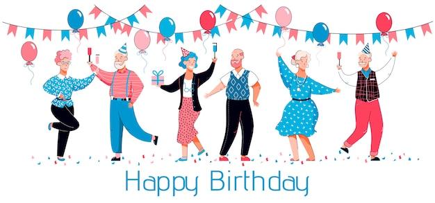 Tarjeta de feliz cumpleaños con ancianos bailando y celebrando con sombreros de fiesta