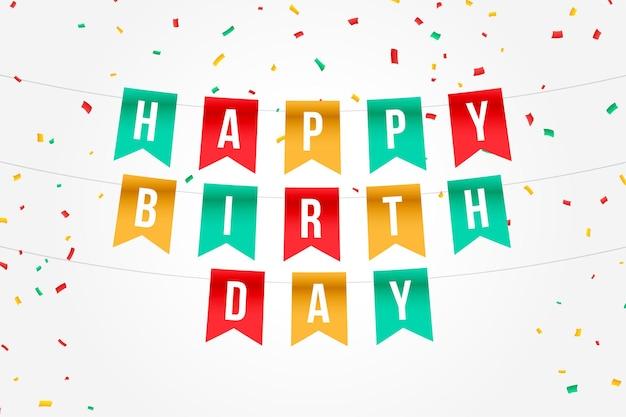 Tarjeta de feliz cumpleaños bandera con confeti cayendo
