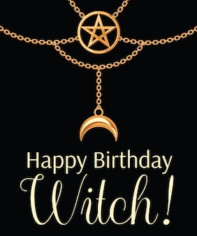 Tarjeta de feliz cumpleaños bruja. collar dorado metalizado.
