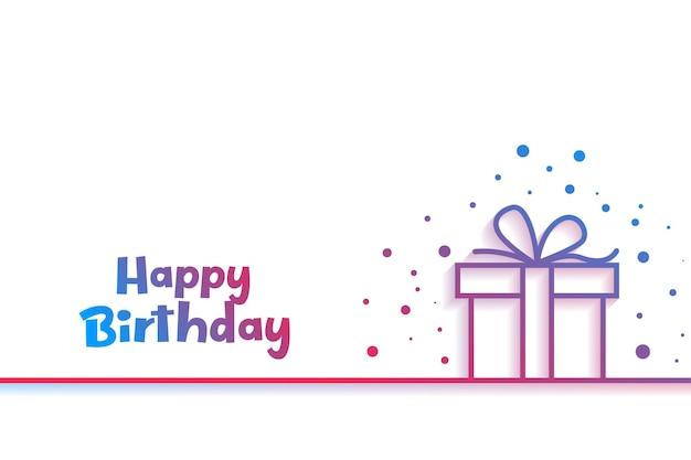 Tarjeta de feliz cumpleaños con caja de regalo