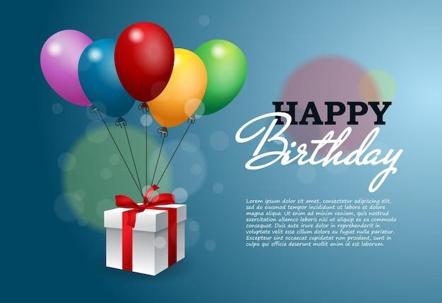 Tarjeta de feliz cumpleaños con caja de regalos y globos de helio.