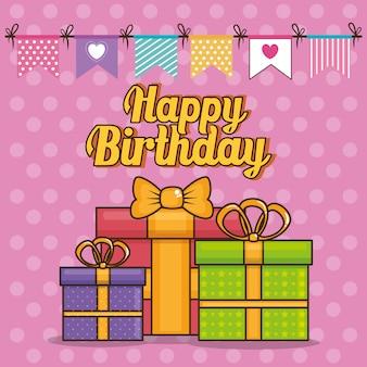 Tarjeta de feliz cumpleaños con cajas de regalo