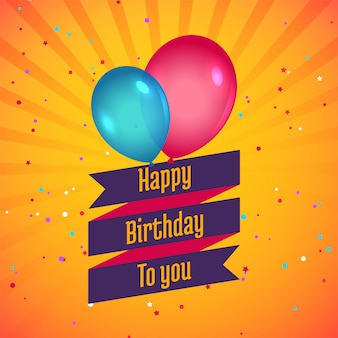 Tarjeta de feliz cumpleaños celebración con globos