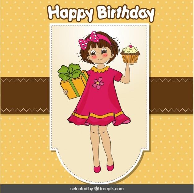 Tarjeta del feliz cumpleaños con una chica llevando una magdalena y un regalo