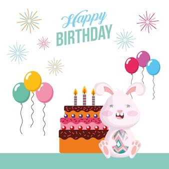 Tarjeta del feliz cumpleaños con conejo en la escena del partido, diseño de ilustraciones vectoriales