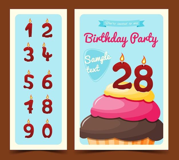 Tarjeta del feliz cumpleaños con cupcake en estilo de dibujos animados