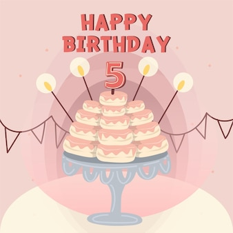 Tarjeta del feliz cumpleaños decorada con cupcakes