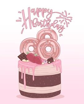 Tarjeta de feliz cumpleaños decorada con imágenes de pastel