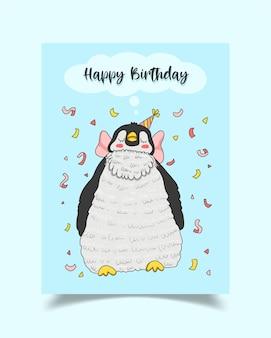 Tarjeta de feliz cumpleaños decorada con pingüinos