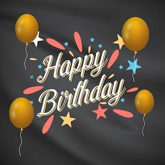 Tarjeta del feliz cumpleaños con diseño elegent y fondo oscuro