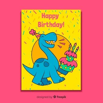 Tarjeta feliz cumpleaños en diseño plano