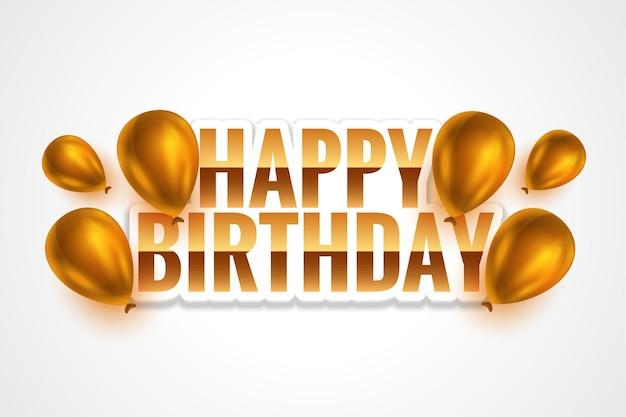 Tarjeta de feliz cumpleaños dorada con globos realistas