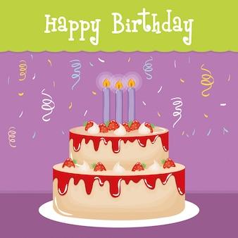 Tarjeta de feliz cumpleaños con dulce pastel y velas