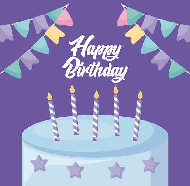 Tarjeta de feliz cumpleaños con dulce pastel