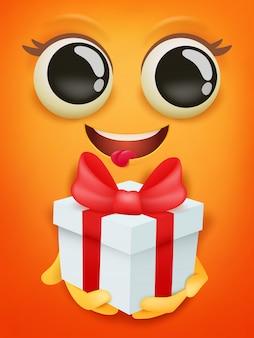 Tarjeta de feliz cumpleaños con emoticon de cara sonriente amarilla con caja de regalo