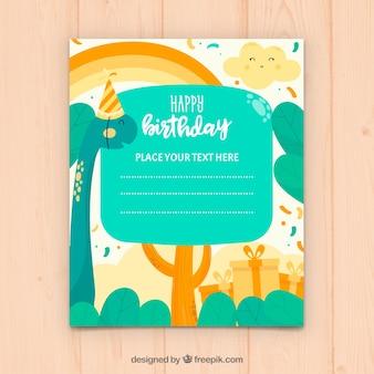 Tarjeta de feliz cumpleaños en estilo hecho a mano