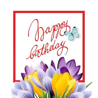 Tarjeta del feliz cumpleaños con flores de primavera, tulipanes, narcisos, muscari. plantilla de vector