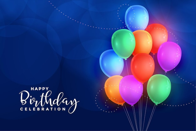 Tarjeta de feliz cumpleaños de globos de colores