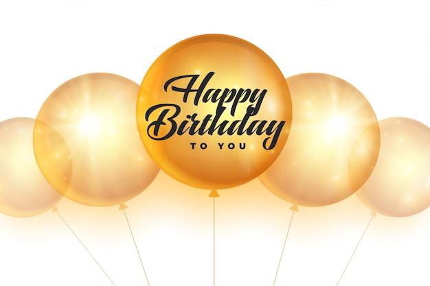 Tarjeta del feliz cumpleaños con globos dorados