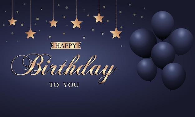 Tarjeta de feliz cumpleaños con globos y estrella