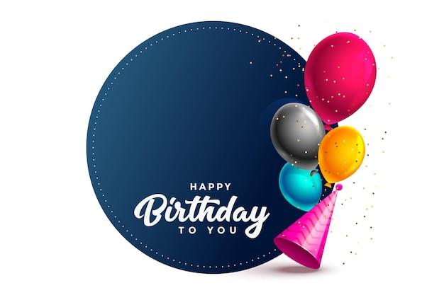 Tarjeta de feliz cumpleaños con globos y gorro de fiesta