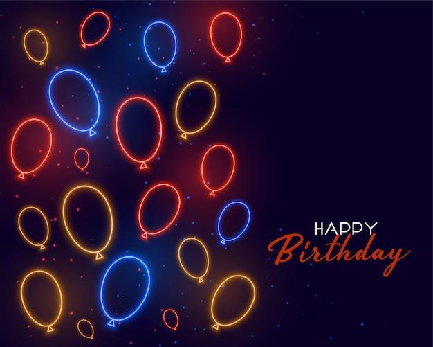 Tarjeta de feliz cumpleaños con globos de neón