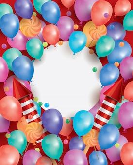 Tarjeta de feliz cumpleaños con globos voladores, cohetes rojos y piruletas