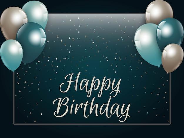 Tarjeta del feliz cumpleaños con globos