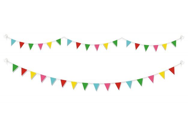 Tarjeta de feliz cumpleaños con guirnaldas de papel de colores. ilustración