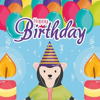 Tarjeta de feliz cumpleaños con helio de mono y globos.