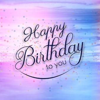 Tarjeta de feliz cumpleaños hermoso fondo de acuarela colorida