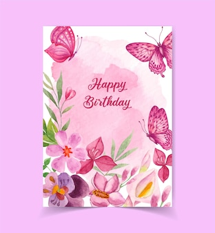Tarjeta de feliz cumpleaños linda encantadora con decoración floral