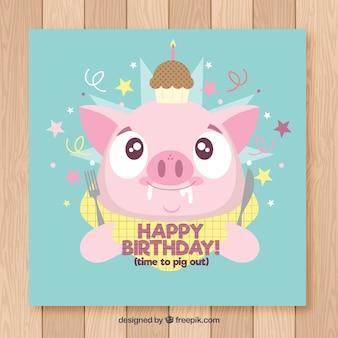 Tarjeta de feliz cumpleaños con lindo cerdo en estilo plano