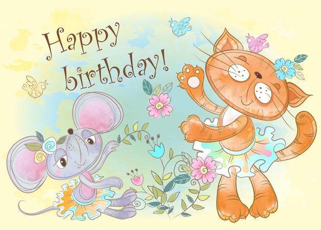 Tarjeta de feliz cumpleaños con lindo gato y ratón.