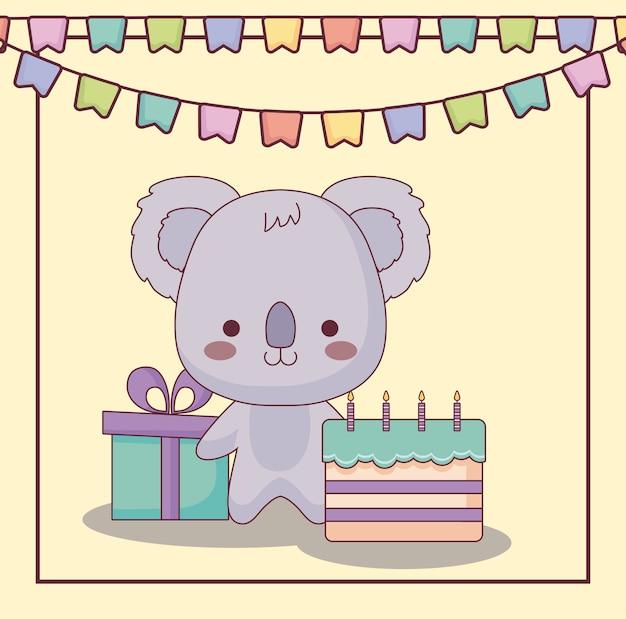 Tarjeta de feliz cumpleaños lindo koala con pastel e iconos