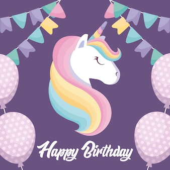 Tarjeta de feliz cumpleaños con lindo unicornio