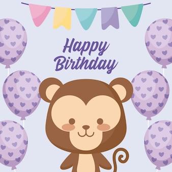 Tarjeta de feliz cumpleaños con mono lindo