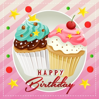 Tarjeta de feliz cumpleaños con muffin de dulces