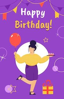 Tarjeta de feliz cumpleaños con mujer de dibujos animados con globo de fiesta