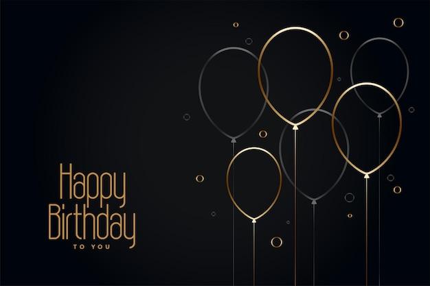 Tarjeta de feliz cumpleaños negra con globos de línea dorada