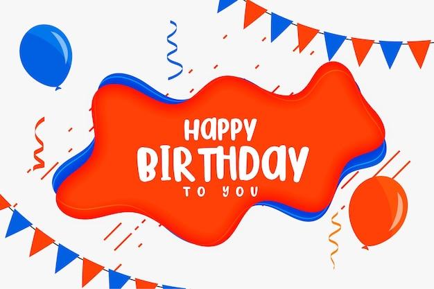 Tarjeta de feliz cumpleaños para niños en diseño de estilo plano