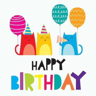 Tarjeta de feliz cumpleaños para niños, diseño de tarjeta colorido lindo y divertido para bebé recién nacido
