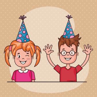 Tarjeta de feliz cumpleaños con niños pequeños