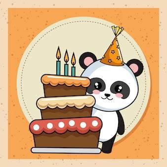 Tarjeta de feliz cumpleaños con oso panda