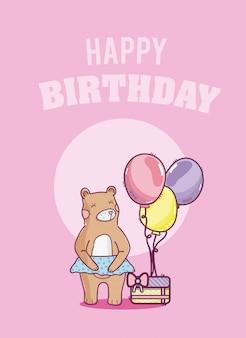 Tarjeta de feliz cumpleaños con oso