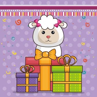 Tarjeta de feliz cumpleaños con oveja bonita