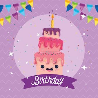 Tarjeta de feliz cumpleaños con pastel y decoración de fiesta
