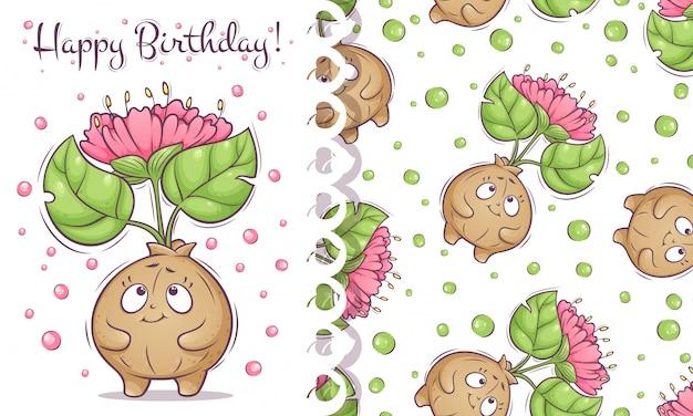 Tarjeta de feliz cumpleaños y patrón con linda planta de flor.