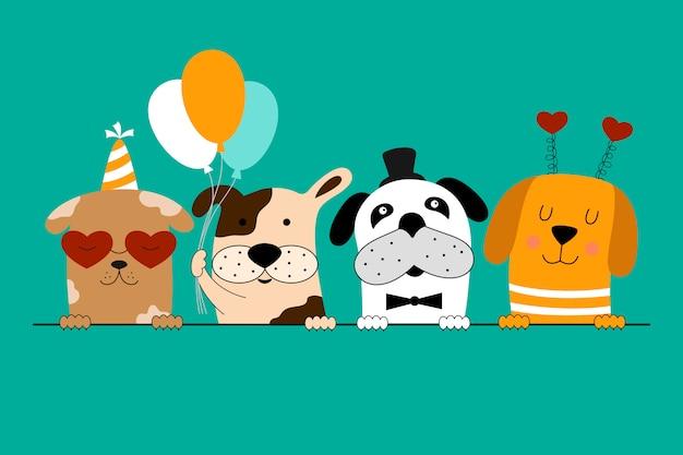 Tarjeta de feliz cumpleaños con perros lindos.